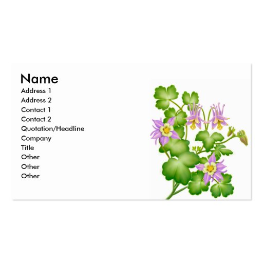 Columbine Flowers Profile Card Business Card