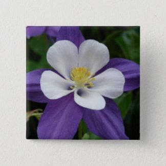 Columbine Purple and White Flower Button