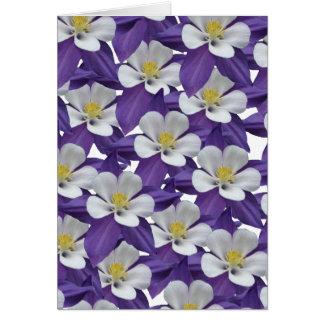 Columbine Purple and White Flower Card