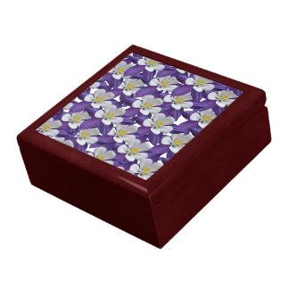 Columbine Purple and White Flower Pattern Gift Box