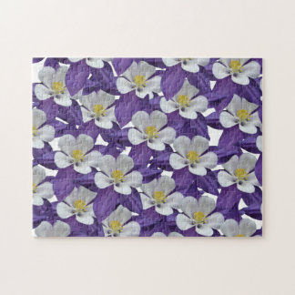 Columbine Purple and White Flower Pattern Puzzle