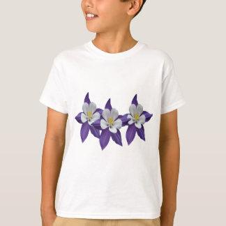 Columbine Purple and White Flowers Kids T-shirt