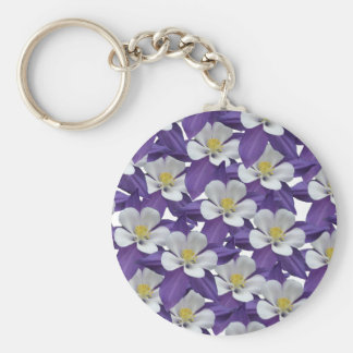 Columbine Purple and White Flowers Patten Keychain