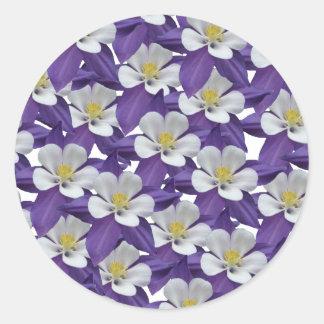 Columbine Purple and White Flowers Pattern Sticker
