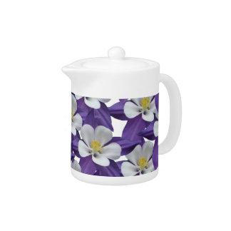 Columbine Purple and White Flowers Pattern Tea Pot