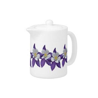Columbine Purple and White Flowers Tea Pot