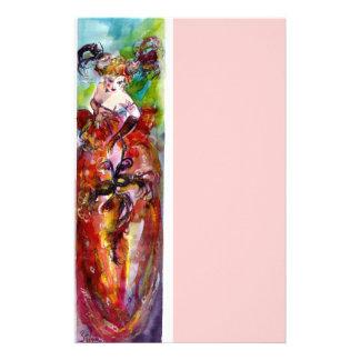 COLUMBINE, rosa rojo del verde azul Papeleria Personalizada