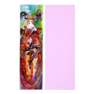 COLUMBINE, rosa rojo del verde azul Papeleria De Diseño