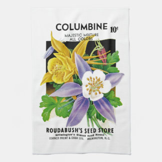 Columbine Seed Packet Label Kitchen Towel