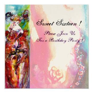 COLUMBINE,Sweet Sixteen Masquerade Party, gold Card