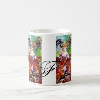 COLUMBINE / Venetian Masquerade Ball Monogram Classic White Coffee Mug