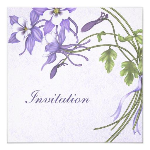 Columbine Wedding Invitations - Metallic Champagne