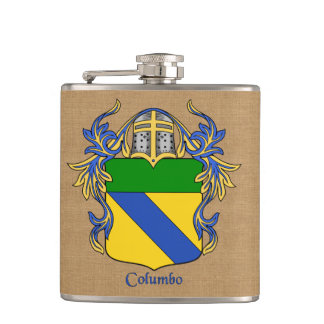 Columbo Heraldic Shield with Mantle and Helm Hip Flask