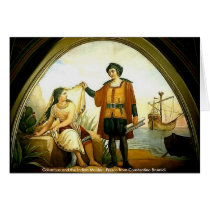 Columbus and the Indian Maiden Card