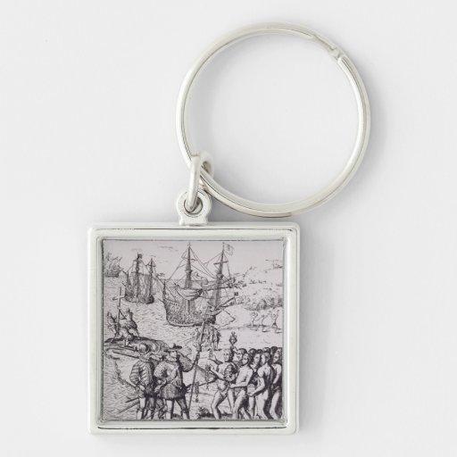 Columbus at Hispaniola 2 Key Chain