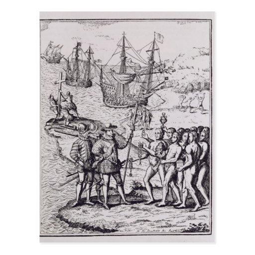 Columbus at Hispaniola 2 Postcards