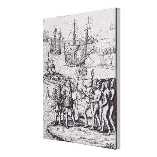 Columbus at Hispaniola Canvas Print