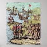 Columbus at Hispaniola Poster