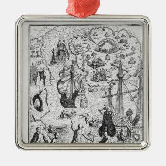 Columbus at Isla Margarita' Metal Ornament