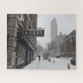 Columbus Avenue Liquor Store NYC Snowstorm Winter Jigsaw Puzzle