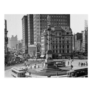 Columbus Circle Vintage Glass Slide Postcard