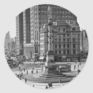 Columbus Circle Vintage Glass Slide Classic Round Sticker