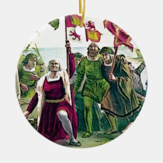 Columbus claiming the land ceramic ornament