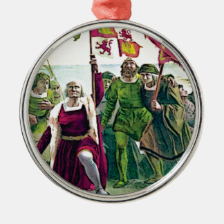 Columbus claiming the land metal ornament