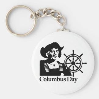 Columbus Day Basic Round Button Keychain