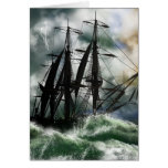 Columbus Day Card With Digitally Painted Ship On T