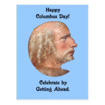 Columbus Day Getting Ahead Vintage Portrait Postcard