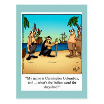 Columbus Day Humor Postcard