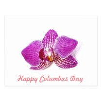 Columbus Day, Lilac Orchid floral watercolor art Postcard