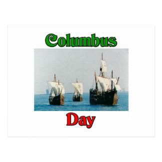Columbus Day Ships Postcard