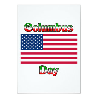 Columbus Day with Flag Card