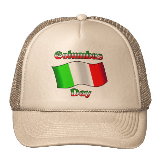 Columbus Day With Itailan Flag Trucker Hat