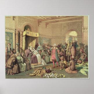 Columbus en la corte real de España en Barcelona Poster