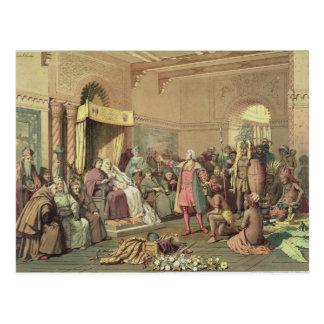 Columbus en la corte real de España en Barcelona Postales