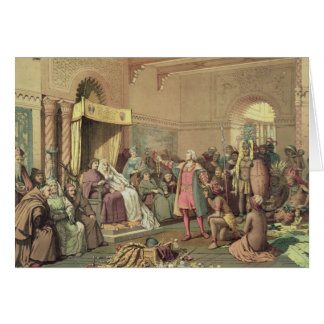 Columbus en la corte real de España en Barcelona Tarjeta De Felicitación