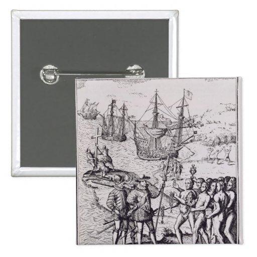 Columbus en La Española 2 Pin Cuadrado