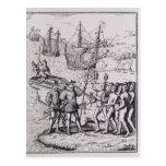 Columbus en La Española 2 Postal