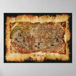 Columbus envejeció el poster del arte del mapa de