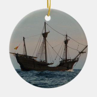 Columbus Era Ship Ceramic Ornament