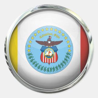 Columbus Flag Glass Ball Classic Round Sticker