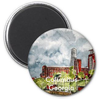 columbus ga georgia riverwalk river walk art, C... 2 Inch Round Magnet