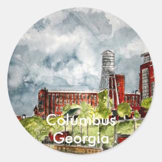 columbus ga georgia riverwalk river walk art, C... Classic Round Sticker