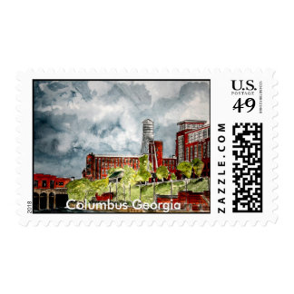 columbus ga georgia riverwalk river walk art, C... Postage Stamp