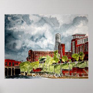 columbus ga georgia riverwalk river walk art, C... Poster