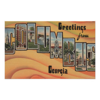 Columbus, Georgia - Large Letter Scenes Print