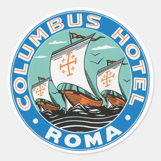 Columbus Hotel Roma Classic Round Sticker